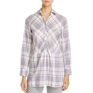Foxcroft Maddy Winter Plaid Tunic Top Blouse Women